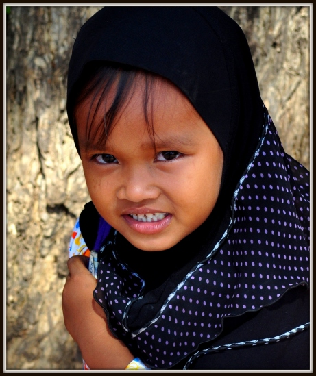 Cham Muslim girl, National Road 5, about 25 kilometres from Phnom Penh