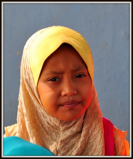 Cham Muslim girl at school, National Road 5, about 28 kilometres from Phnom Penh