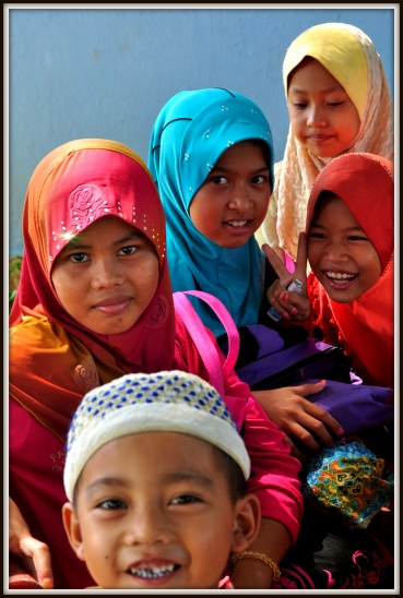Cham Muslim girls at school, National Road 5, about 28 kilometres from Phnom Penh