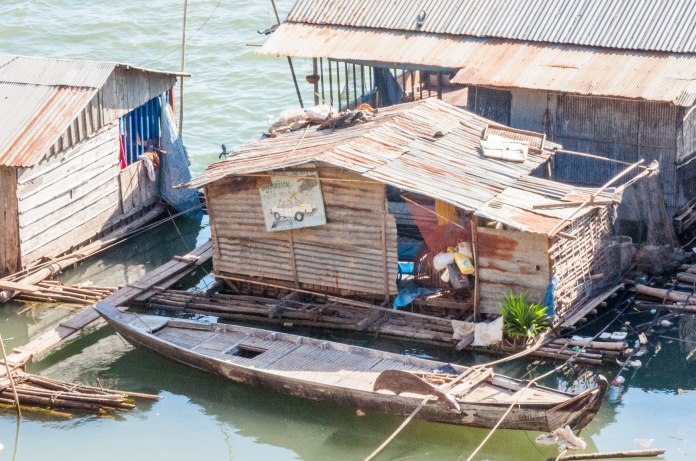 Vietnamese Floating Village, on the banks of the Mekong, just outside the town of Kampong Cham