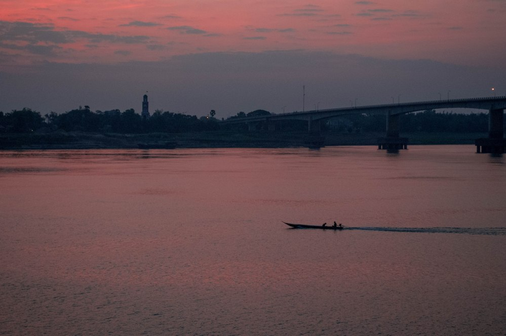 Dusk, Kizuna Bridge on the Mekong River, Kampong Cham, Cambodia