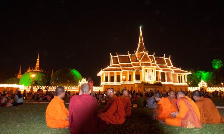 Monks outside Grand Palace, Phnom Penh